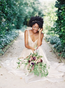 Charleston bride holding bouquet at Middleton Place, wedding flowers, floral design by Perfectly Posh Events