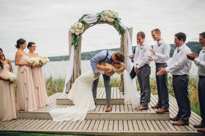 Edgewater House Wedding, Gig Harbor, WA | Beachfront ceremony altar with drapery and cream and blush flowers | Seattle Wedding Planner, Perfectly Posh Events | Mike Fiechtner Photography | Floral Design by Stacy Anderson Floral
