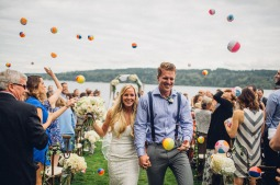 Edgewater House Wedding, Gig Harbor, WA | Creative ceremony ideas, beach ball send-off | Seattle Wedding Planner, Perfectly Posh Events | Mike Fiechtner Photography | Floral Design by Stacy Anderson Floral