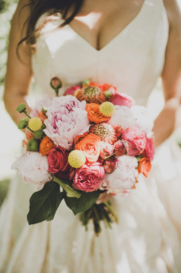 The Foundry by Herban Feast wedding in Seattle | Vibrant mid-century modern bridal bouquet | Perfectly Posh Events | Carina Skrobecki Photography | Butter & Bloom