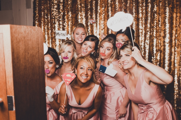 The Foundry by Herban Feast wedding in Seattle | Mid-century modern bridal party in vintage photo booth | Perfectly Posh Events | Carina Skrobecki Photography | The SnapBar