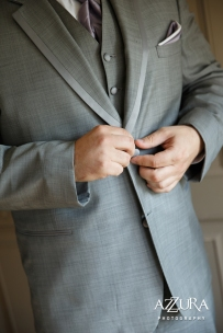 Laurel Creek Manor Wedding in Seattle | Groom getting ready pictures in grey suit with lavender tie and pocket square | Perfectly Posh Events, Seattle Wedding Planner | Azzura Photography