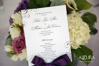 Laurel Creek Manor Wedding in Seattle | Ceremony program fan for summer weddings | Perfectly Posh Events, Seattle Wedding Planner | Azzura Photography | Sublime Stems