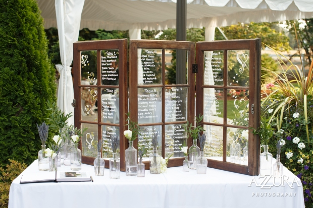 Laurel Creek Manor Wedding in Seattle   Window pane table assignments for wedding   Perfectly Posh Events, Seattle Wedding Planner   Azzura Photography