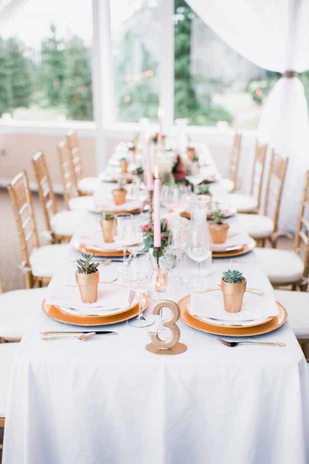 Glen Acres Golf Club wedding in Seattle | Romantic wedding tables cape with gold, blush, and white | Perfectly Posh Events, Seattle Wedding Planner | Barrie Anne Photography | Butter & Bloom