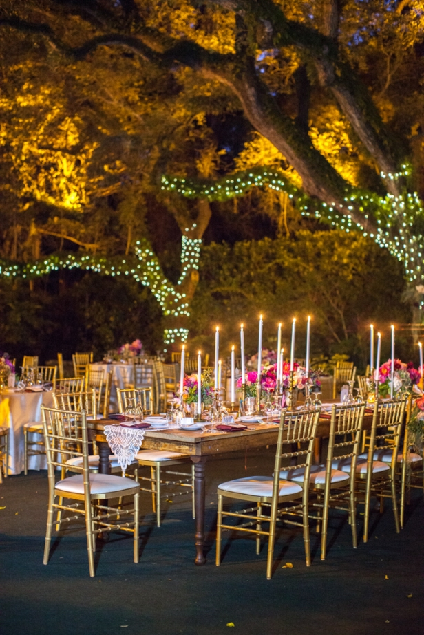 Michelle March Photography | Seattle Wedding Planner | Gold table and chairs with pink accents