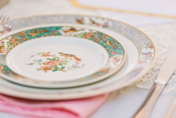 Robinswood House Wedding in Bellevue   Mismatched Asian flared flatware for reception   Perfectly Posh Events, Seattle Wedding Planner   Courtney Bowlden Photography   vintage plate set at wedding reception