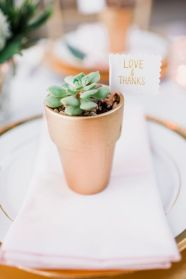 Glen Acres Golf Club | Seattle | Seattle Wedding Planner | Perfectly Posh Events | Barrie Anne Photography | Succulent favors in gold pot