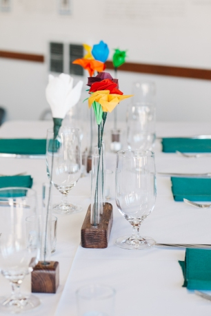 Center for Wooden Boats wedding in Seattle   Colorful paper flower centerpieces   Perfectly Posh Events, Seattle Wedding Planning   Kathryn Moran Photography