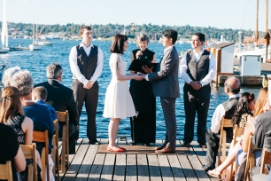 Center for Wooden Boats wedding in Seattle   Seattle marina boat dock ceremony   Perfectly Posh Events, Seattle Wedding Planning   Kathryn Moran Photography
