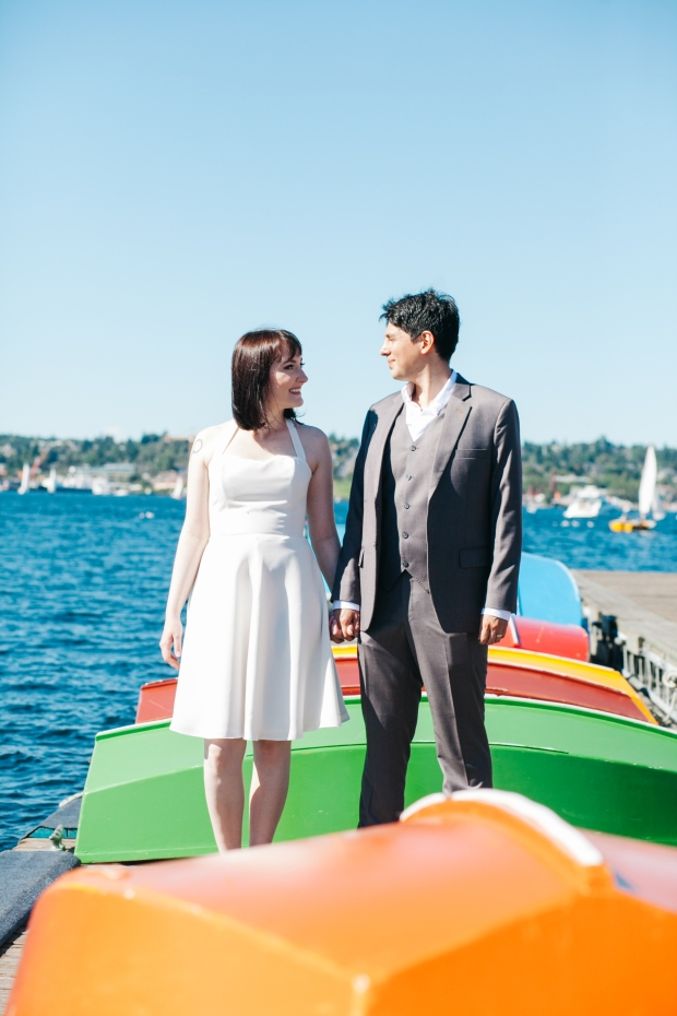 Center for Wooden Boats wedding in Seattle | Seattle bride and groom on boat dock | Perfectly Posh Events, Seattle Wedding Planning | Kathryn Moran Photography