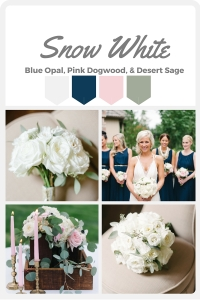 White Wedding Color Swatches from Pantone | Real wedding with Pantone color, Snow White | Design + Coordination by Perfectly Posh Events | Blue Rose Photography | Flowers by Butter & Bloom