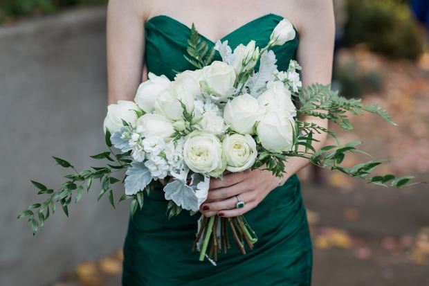 Salish Lodge Wedding in Seattle | PNW Bridal bouquet, with white garden roses, dusty miller, ferns, and other greenery | Perfectly Posh Events | Amy Galbraith Photography | Butter & Bloom