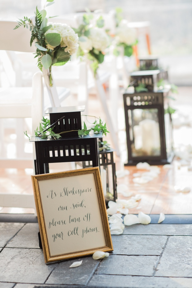 Salish Lodge Wedding in Seattle | PNW ceremony space with lanterns, greenery, and white florals | Perfectly Posh Events | Amy Galbraith Photography | Butter & Bloom | Songbird Paperie | Salish Lodge