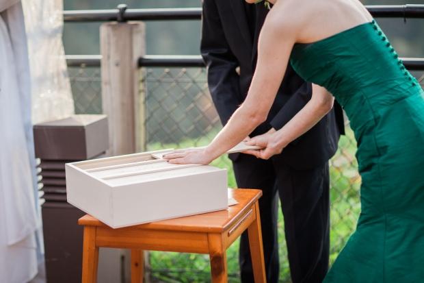 Salish Lodge Wedding in Seattle   Unity candle alternative, anniversary wine box   Perfectly Posh Events   Amy Galbraith Photography