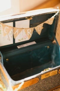 DeLille Cellars wedding in Woodinville | Vintage suitcase card box with pennant banner | Perfectly Posh Events | Lucid Captures Photography