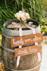 DeLille Cellars wedding in Woodinville | Rustic welcome sign on wine barrel | Wedding Coordination by Perfectly Posh Events | Lucid Captures Photography | Bella Signature Design