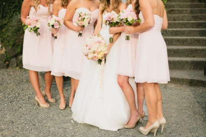 DeLille Cellars wedding in Woodinville | Bride and bridesmaids in blush dresses with romantic garden bouquets | Perfectly Posh Events | Lucid Captures Photography | Bella Signature Design