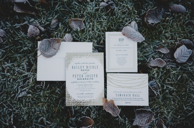Cedarbrook Lodge wedding in Seattle | Frosted, wintery wedding invitation suite for New Year's Eve wedding in Seattle | Perfectly Posh Events | Carly Bish Photography | Etsy.com