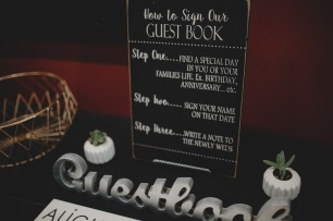 Cedarbrook Lodge wedding in Seattle | Wintery, metallic guest book table with signage and succulents | Perfectly Posh Events | Carly Bish Photography | Butter & Bloom | Etsy.com