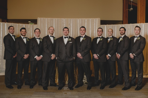Cedarbrook Lodge wedding in Seattle | Groomsmen pose at Cedarbrook Lodge | Perfectly Posh Events | Carly Bish Photography