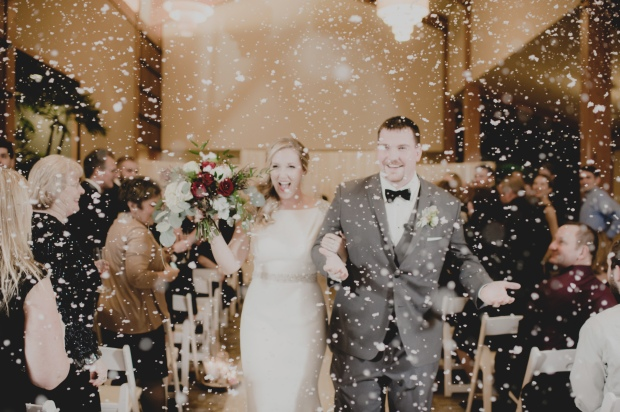 Cedar brook Lodge wedding in Seattle | Winter ceremony with faux snow recessional | Perfectly Posh Events | Carly Bish Photography | Butter & Bloom
