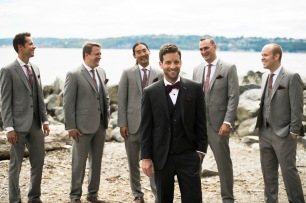 Sodo Park Wedding in Seattle | Groom and groomsmen in gray and black suits with burgundy accessories | Perfectly Posh Events | Kimberly Kay Photography