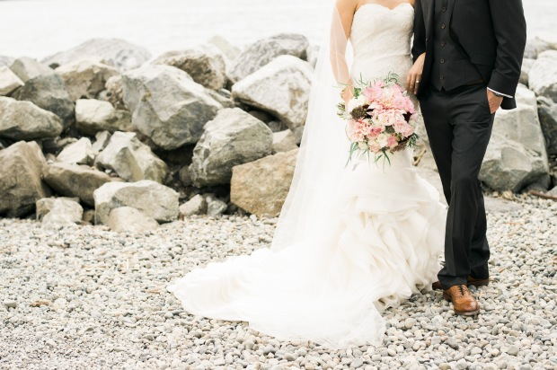 Sodo Park Wedding in Seattle | Custom Luly Yang Couture gown with pink, burgundy, and cream bridal bouquet | Perfectly Posh Events | Kimberly Kay Photography | Floressence | Luly Yang Couture