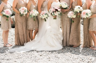 Gold sequin bridesmaid dresses | Luly Yang Couture wedding gown | Sodo Park Wedding in Seattle | Wedding Planning and Design by Seattle Wedding Planner Perfectly Posh Events | Kimberly Kay Photography | Floressence