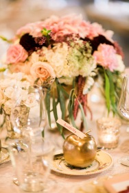 Sodo Park Wedding in Seattle | Elegant floral centerpieces of pink, cream, and burgundy with gold accents | Perfectly Posh Events | Kimberly Kay Photography | Florescence