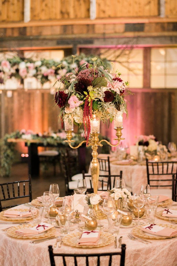 Sodo Park Wedding in Seattle | Sodo Park wedding reception with gold, pink, burgundy, and cream decor | Perfectly Posh Events | Kimberly Kay Photography | Floressence