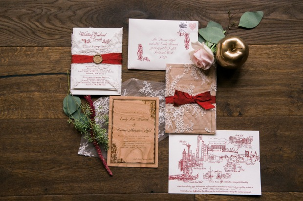 Sodo Park Wedding in Seattle | Burgundy wedding invitation suite with gold and green accents | Perfectly Posh Events | Kimberly Kay Photography