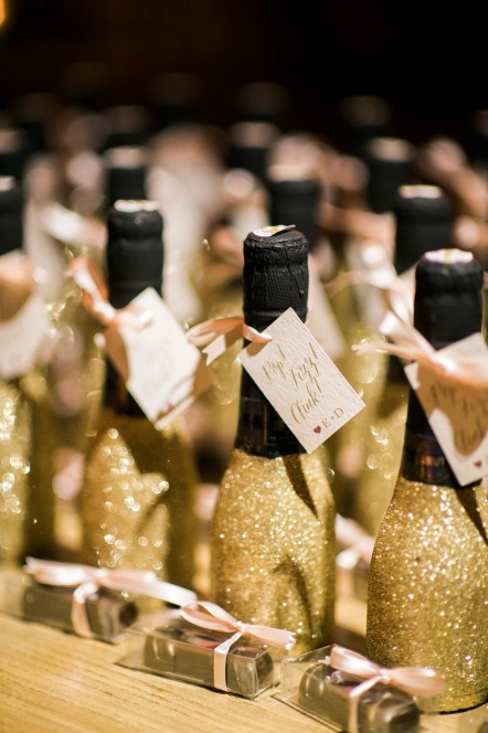 "Sodo Park Wedding in Seattle | Custom champagne favors with gold glitter and custom ""Thank You"" tags 