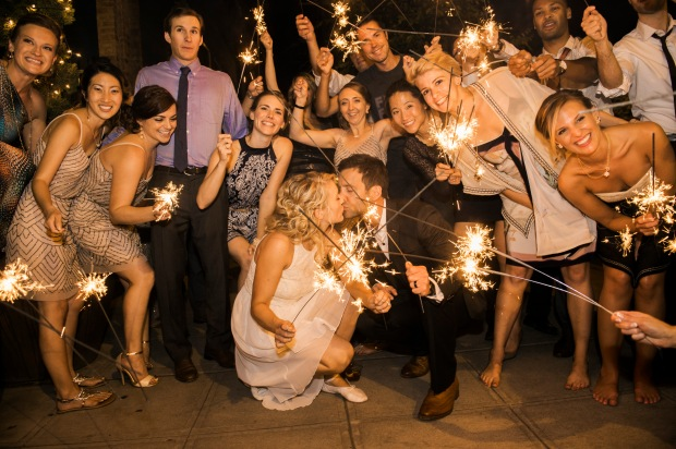 Sodo Park Wedding in Seattle | Sparkler send-off from wedding reception | Perfectly Posh Events | Kimberly Kay Photography