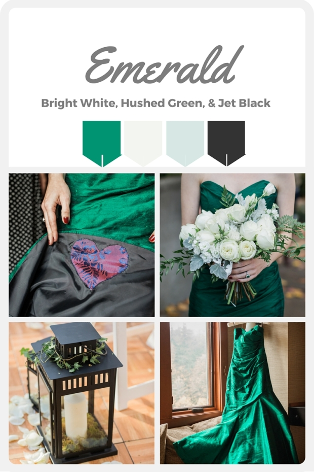 Green Wedding Color Swatches from Pantone | Real wedding with Pantone color, Emerald Green | Coordinated by Perfectly Posh Events | Amy Galbraith Photography | Floral Design by Butter & Bloom