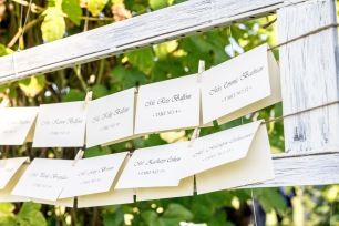 Hanging escort cards in wooden frame for wedding reception   Meadowbrook Farm Wedding, Snoqualmie, WA   Perfectly Posh Events, Seattle Wedding Planner   Sasha Reiko Photography   Jesse + Wes Wedding // © Sasha Reiko Photography