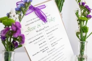Ceremony Programs with green font and royal purple ribbon   Meadowbrook Farm Wedding, Snoqualmie, WA   Perfectly Posh Events, Seattle Wedding Planner   Sasha Reiko Photography   Jesse + Wes Wedding // © Sasha Reiko Photography