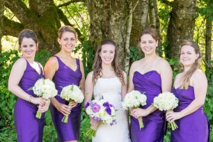 Royal purple bridesmaid dresses in different styles with white bouquets   Meadowbrook Farm Wedding, Snoqualmie, WA   Perfectly Posh Events, Seattle Wedding Planner   Down to Earth Flowers   Sasha Reiko Photography   Jesse + Wes Wedding // © Sasha Reiko Photography