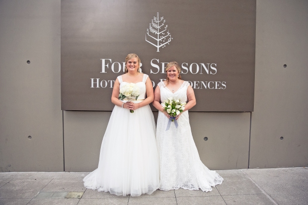 Four Seasons Seattle Wedding | Same Sex Couple Photo with bouquets | Perfectly Posh Events, Seattle Wedding Planner | Josh Lewis Photography