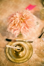 Gold apple place card and pink cafe au lait dahlia | Sodo Park Wedding in Seattle | Wedding Planning and Design by Seattle Wedding Planner Perfectly Posh Events | Kimberly Kay Photography | Floressence