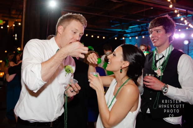 Melrose Market Studios Wedding in Seattle, WA | St. Patrick's Day wedding ideas - Green jello shots | Wedding Planning by Perfectly Posh Events, Seattle Wedding Planner | Kristen Honeycutt Photography