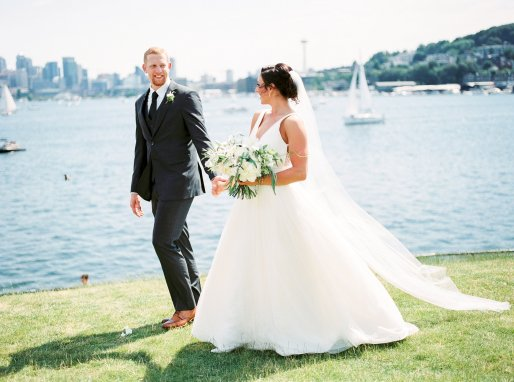 Makayla and Johnny's Wedding at Fremont Foundry in Seattle | Alexandra Grace Photography | Wedding Planning by Perfectly Posh Events, Seattle Wedding Planner | Bride and groom in Seattle on wedding day, white bridal bouquet, BHLDN wedding dress