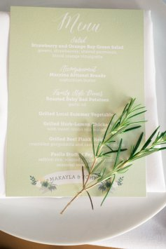 Makayla and Johnny's Wedding at Fremont Foundry in Seattle | Alexandra Grace Photography | Wedding Planning by Perfectly Posh Events, Seattle Wedding Planner | sage green menu with a sprig of rosemary, menu by Song Bird Paperie
