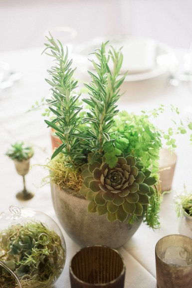 Makayla and Johnny's Wedding at Fremont Foundry in Seattle | Alexandra Grace Photography | Wedding Planning by Perfectly Posh Events, Seattle Wedding Planner | Wedding centerpiece with greenery, herbs, ferns and succulents