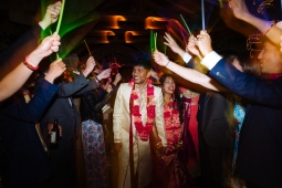 Kiana Lodge Wedding on Bainbridge Island, WA | Glow stick farewell at end of colorful PNW wedding reception | Perfectly Posh Events, Seattle Wedding Planning | Shane Macomber Photography | Floral Design by Flora Nova