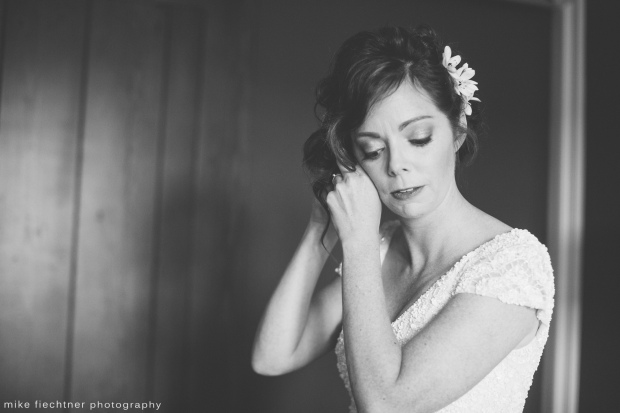 Hotel Ballard Wedding in Seattle | Black and white getting ready photo of bride with white flowers in hair | Perfectly Posh Events, Seattle Wedding Planner | Mike Fiechtner Photography | Floral Design by The London Plane