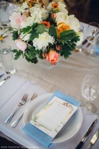 Hotel Ballard Wedding in Seattle, WA | Scandinavian Bohemian themed wedding with accents of blue and pops of orange | Perfectly Posh Events, Seattle Wedding Planner | Mike Fiechtner Photography | Floral Design by The London Plane | Runner provided by Choice Linens