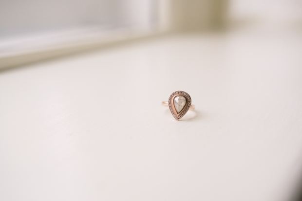 Axis Pioneer Square Wedding in Seattle | Custom design tear-drop wedding ring in rose gold | Perfectly Posh Events, Seattle Wedding Planner | Roland Hale Photography