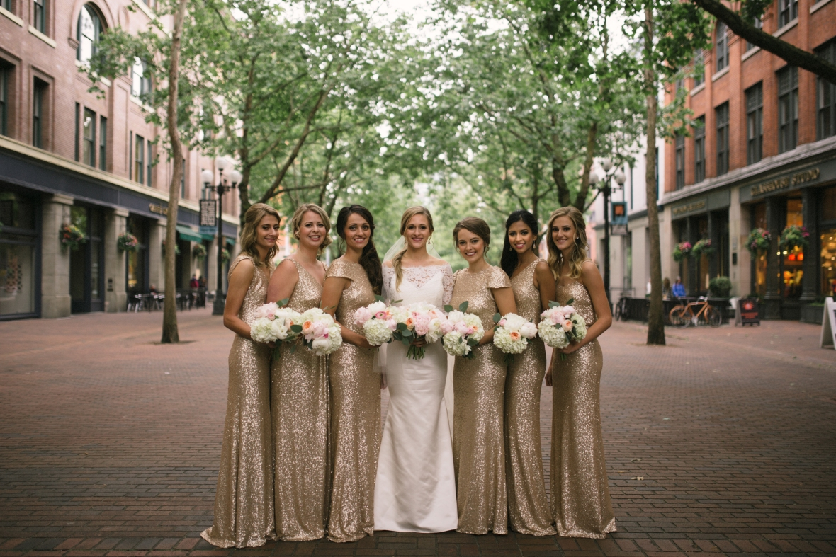 Axis Pioneer Square Wedding in Seattle | Seattle wedding party photo location: Pioneer Square | Perfectly Posh Events, Seattle Wedding Planner | Roland Hale Photography | Floral Design by Sugar Pine {Formerly known as Butter & Bloom}