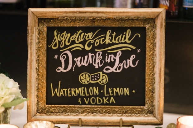 Axis Pioneer Square Wedding in Seattle | Signature Cocktail calligraphy sign for bar at a wedding | Perfectly Posh Events, Seattle Wedding Planner | Roland Hale Photography